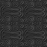 Seamless 3D elegant dark paper art pattern 047 Spiral Round Geometry. Antique black paper art retro abstract seamless pattern background Royalty Free Stock Images