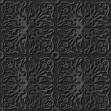 Seamless 3D elegant dark paper art pattern 239 Spiral Vine Flower. Antique black paper art retro abstract seamless pattern background Stock Illustration