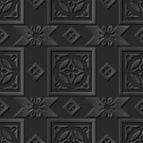 Seamless 3D elegant dark paper art pattern 086 Square Cross Check Flower. Antique black paper art retro abstract seamless pattern background Vector Illustration