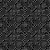 Seamless 3D elegant dark paper art pattern 074 Square Cross Flower. Antique black paper art retro abstract seamless pattern background Vector Illustration