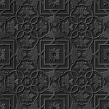 Seamless 3D elegant dark paper art pattern 223 Square Cross Flower. Antique black paper art retro abstract seamless pattern background Royalty Free Illustration