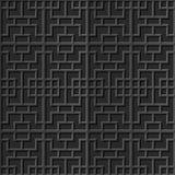 Seamless 3D elegant dark paper art pattern 286 Square Cross Geometry. Antique black paper art retro abstract seamless pattern background Royalty Free Stock Image