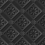 Seamless 3D elegant dark paper art pattern 011 Square Round Star Flower Stock Photography