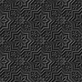 Seamless 3D elegant dark paper art pattern 040 Star Cross Flower. Antique black paper art retro abstract seamless pattern background Stock Illustration