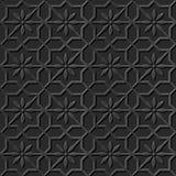 Seamless 3D elegant dark paper art pattern 322 Star Cross Flower Stock Image