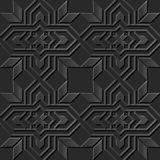 Seamless 3D elegant dark paper art pattern 020 Star Cross Frame Royalty Free Stock Photo