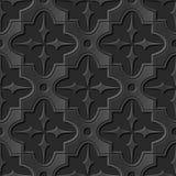 Seamless 3D elegant dark paper art pattern 180 Star Cross Frame Royalty Free Stock Photography