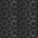 Seamless 3D elegant dark paper art pattern 109 Star Cross Geometry Stock Images