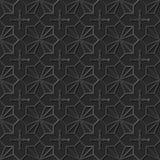 Seamless 3D elegant dark paper art pattern 328 Star Cross Geometry. Antique black paper art retro abstract seamless pattern background Royalty Free Stock Photography