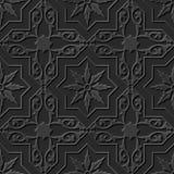 Seamless 3D elegant dark paper art pattern 224 Star Cross Spiral Flower. Antique black paper art retro abstract seamless pattern background Stock Illustration