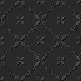 Seamless 3D elegant dark paper art pattern 172 Star Cross Wave Line Royalty Free Stock Images