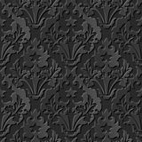 Seamless 3D elegant dark paper art pattern 200 Vintage Leaf Royalty Free Stock Image