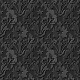 Seamless 3D elegant dark paper art pattern 200 Vintage Leaf Royalty Free Stock Image