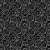 Seamless 3D elegant dark paper art pattern 227 Vintage Round Flower Stock Photos