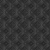 Seamless 3D elegant dark paper art pattern 227 Vintage Round Flower. Antique black paper art retro abstract seamless pattern background Vector Illustration