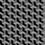 Seamless 3D geometric pattern. Optical illusion. Black and grey geometric background and texture. Vector art royalty free illustration