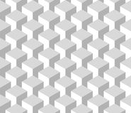 Seamless 3D geometrical pattern of cube columns. Abstract design vector background in shades of grey Royalty Free Stock Photography