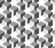 Seamless 3D geometrical pattern of cube columns. Abstract design vector background in shades of grey Royalty Free Stock Images