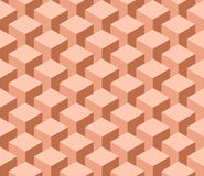 Seamless 3D geometrical pattern of cube columns. Abstract design vector background in shades of orange Royalty Free Stock Image