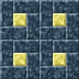 Seamless 3d mosaic of squares and rectangles with marble pattern. Seamless dark blue and gold pattern of geometric shapes Stock Photography