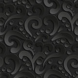 Seamless 3d pattern with abstract flourish design. Black elegant abstract background. Seamless 3d pattern with abstract flourish design. Black elegant abstract Stock Photos