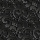 Seamless 3d pattern with abstract flourish design. Black elegant abstract background Stock Photos