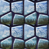 Seamless 3d pattern of polygonal blue stones with water drops Stock Photos