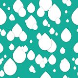 Seamless 3d pattern in trendy paper art style. White paper water drops collage background. Geometric design for banner, cover, bro. Chure, template.  World Water Stock Photo