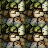 Seamless 3d relief pattern of cracked stones with grass Royalty Free Stock Photos