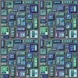 Seamless 3d stylized futuristic city in blue green gray Stock Photo