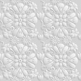 Seamless 3D white floral  pattern,  vector. Endless texture can be used for wallpaper, pattern fills, web page  background,  surfa Royalty Free Stock Image