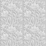 Seamless 3D white floral  pattern,  vector. Endless texture can be used for wallpaper, pattern fills, web page  background,  surfa Stock Photos