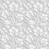 Seamless 3D white floral  pattern,  vector. Endless texture can be used for wallpaper, pattern fills, web page  background,  surfa. Ce textures Royalty Free Stock Photos