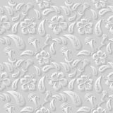 Seamless 3D white floral  pattern,  vector. Endless texture can be used for wallpaper, pattern fills, web page  background Royalty Free Stock Photo