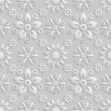 Seamless 3D white floral  pattern,  vector.. Endless texture can be used for wallpaper, pattern fills, web page  background,  surface textures Royalty Free Stock Images