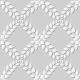 Seamless 3D white paper cut art background 380 cross leaf flower vine Stock Photography