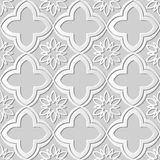 Seamless 3D white paper cut art background 421 oriental curve cross flower Stock Image