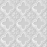 Seamless 3D white paper cut art background 421 oriental curve cross flower Stock Image