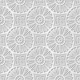 Seamless 3D white paper cut art background 412 round cross leaf geometry chain Stock Photography