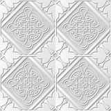 Seamless 3D white paper cut art background 403 square check cross round flower frame Stock Photography