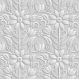 Seamless 3D white pattern, natural  floral pattern, . Endless texture can be used for wallpaper, pattern fills, web page  ba Royalty Free Stock Photos