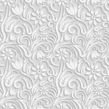 Seamless 3D white pattern, natural  floral pattern, vector. Endless texture can be used for wallpaper, pattern fills, web page  ba Royalty Free Stock Images