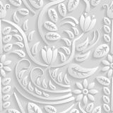 Seamless 3D white pattern, natural  floral pattern, vector. Endless texture can be used for wallpaper, pattern fills, web page  ba Stock Image