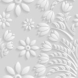 Seamless 3D white pattern, natural  floral pattern, vector. Endless texture can be used for wallpaper, pattern fills, web page  ba Royalty Free Stock Photography