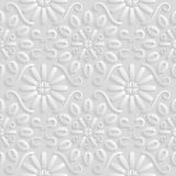 Seamless 3D white pattern, natural  floral pattern, vector. Endless texture can be used for wallpaper, pattern fills, web page  ba Royalty Free Stock Photo