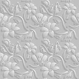 Seamless 3D white pattern, natural  floral pattern, vector. Endless texture can be used for wallpaper, pattern fills, web page  ba Stock Photos