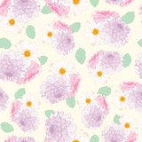 Seamless Dahlia Flowers Pattern On Pastel Background Stock Photography