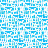 Seamless dairy products pattern Stock Image