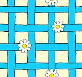 Seamless daisy and blue grid Royalty Free Stock Photo
