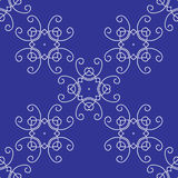 Seamless Damask Background Pattern on Blue Stock Photography
